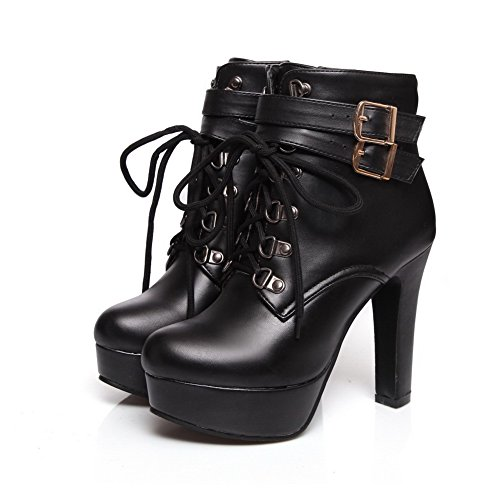VogueZone009 Women's Round Closed Toe Low-top High-Heels Solid PU Boots, Black, 40 by VogueZone009 (Image #8)