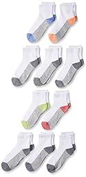 Fruit of the Loom Big Boys\' 10 Pack Ankle Socks,  Assorted, Shoe: 9-2.5