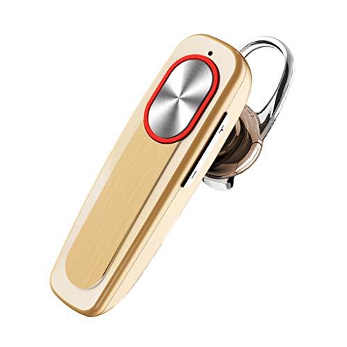 OmkuwlQ Wireless Bluetooth 4.1 Headset Long Time Standby Mic Earphone Headphones Ear Hook Handsfree in-Ear Sport Earbuds Gold 6 3 1.8cm