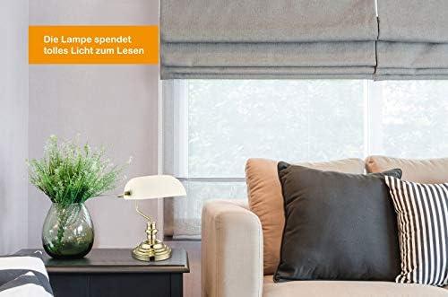 Lampe de bureau en laiton avec abat-jour en verre à LED Blanc Rétro (lampe de bureau, lampe de chevet, hauteur 36 cm, lampe bancaire, 9 W)