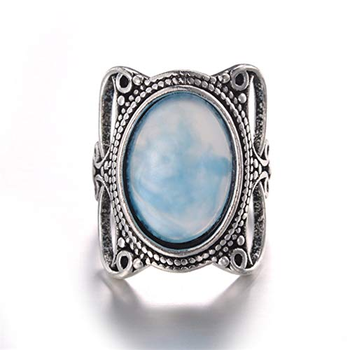 Eightgo Exquisite Antique Oval Blue Turquoise Gemstone Floral Engagement - Oval Charm Turquoise