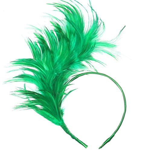 (BABEYOND 1920s Fascinator Gatsby Feather Headband Kentucky Derby Headpiece for Cocktail Wedding Tea Party)