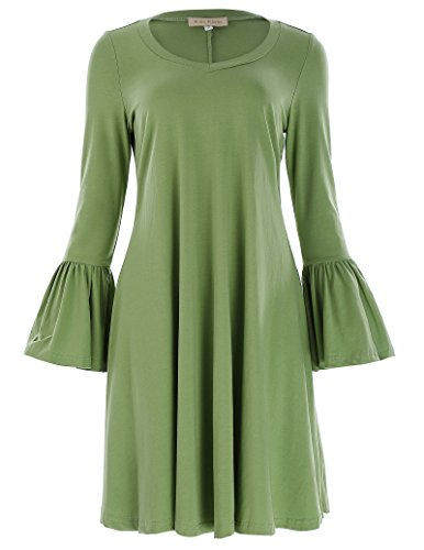 Women's Casual V Neck Simple T Shirt Loose Dress (M,Green) ()