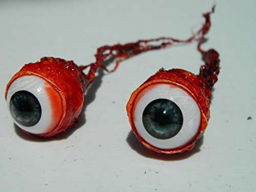 Pair of Realistic Life size Bloody Ripped Out Eyeballs - Halloween props - FJ04