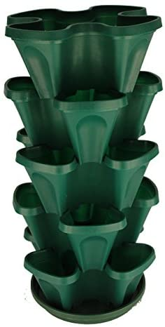 5-Tier Strawberry and Herb Garden Planter – Stackable Gardening Pots with 10 Inch Saucer Terra-Cotta
