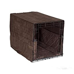 Complete 3 Pc Dog Crate Bedding Set includes Crate Pad, Crate Cover and Bumper - Coco Brown- Large 36\