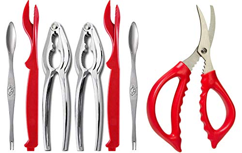 Crab Leg Crackers and Tools - Shellfish Nut Cracker for Nut Stainless Steel Seafood Crackers & Forks Cracker Set (Best Beer Making Kit 2019)
