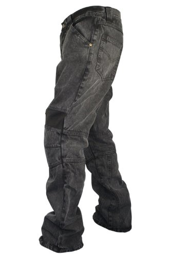 Xelement 055000 Classic Fit Mens Black Stonewash Denim Motorcycle Racing Pants - 36