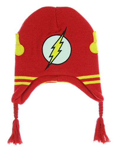 DC Comics The Flash Costume Youth Laplander Knit Beanie Hat Cap Red (Beanie Hat Dc)