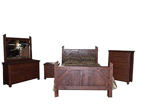 Amish Country Chest Of Drawers (Rustic Rough Cut Red Oak Bedroom Complete Set Amish Made USA- Queen Size)