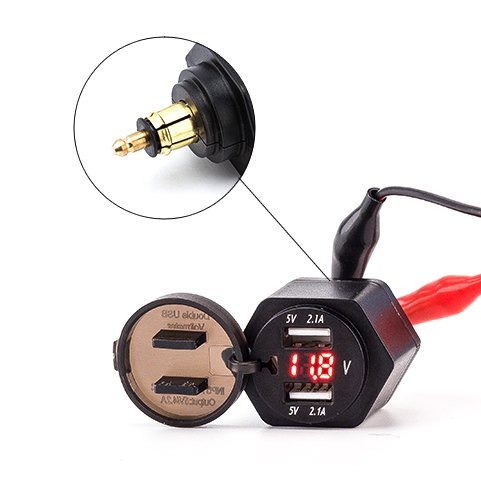 Eriding 2 USB Charger 4.2A Adapter Red LED Voltmeter with Powerlet Din Plug for Motorcycle