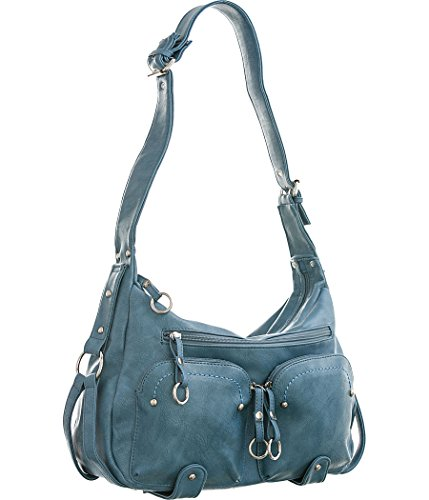Utilitarian Shoulder Bag Light Denim Blue Large Women's Hobo (Denim Purse Blue Jean)