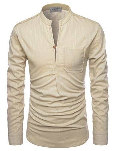 NEARKIN (NKNKN351 Henley Neck Light Weight Chinese Collar Cool Linen Shirts Beige US XS(Tag Size XS)