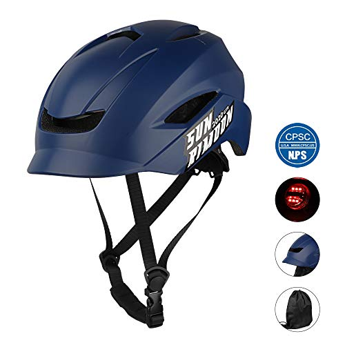 SUNRIMOON Adult Bike Helmet with Adjustable Regulator Tail Light for Men/Women, Unibody Design Lightweight Bicycle Cycling Helmet for Urban Commuter, 19.69-23.23 Inches - Navy (Bike Street Specialized)