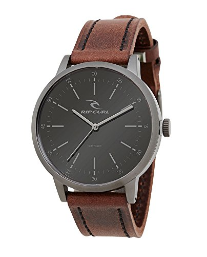 Rip Curl Men's Drake Leather Gunmetal Analog Watch A2793-gun by Rip Curl