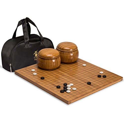 Go Game Set with Bamboo 0.8 Inch Go Board with Double Convex Yunzi Stones and Bowls by Yellow Mountain Imports