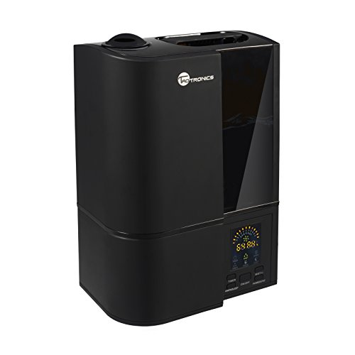 Ultrasonic Humidifiers for Home, TaoTronics Cool Mist Humidifier with No Noise, LED Display, 4L/1.1 Gallon Capacity, Adjustable Mist Levels, Timer, Waterless Auto Shut-off, US 110V (Black)