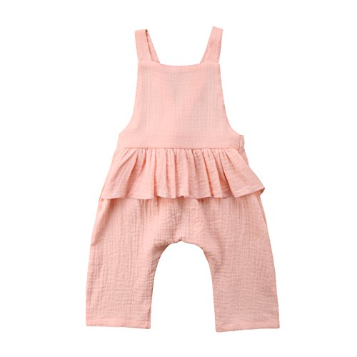 Wiwiane Baby Girl Sleeveless Ruffle Romper Jumpsuit Backless Playsuit Outfit Overalls (Pink, 2-3 Years) ()