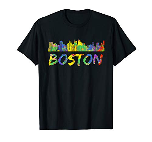 Boston Massachusetts Shirt Skyline Paint Vintage T-Shirt ()