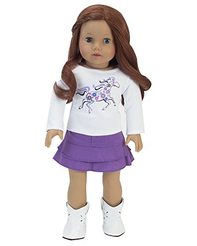 2 Pc. 18 Inch Doll Clothes, White Galloping Horse Tee Shirt & Purple Denim Layered Skirt Perfect for the 18 Inch American Girl Clothes & More! Doll Denim Skirt & Horse T-shirt