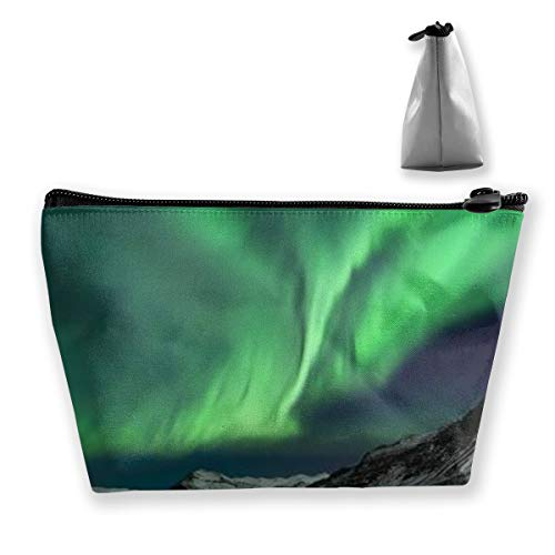 Bizwheo Case Flash of Aurora Polaris Above Mountains in Night Picturees Waterproof Makeup Shower Bag Zipper Organizer Travel Cosmetic Bag - Shower Mountain Square