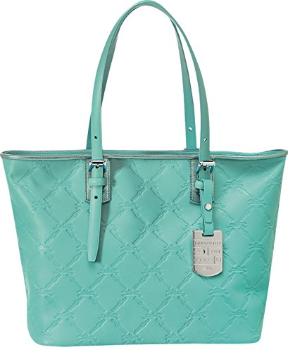 Longchamp Lm Cuir Large Tote Lagoon Blue Bag Leather Handbag Purse Logo NEW
