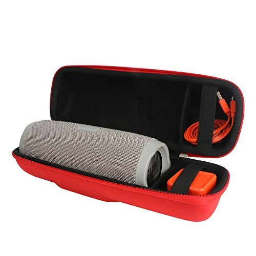Khanka Hard Travel Case Replacement for JBL Charge 3 Waterproof Portable Wireless Bluetooth Speaker. Extra Room for Charger and USB Cable (red)