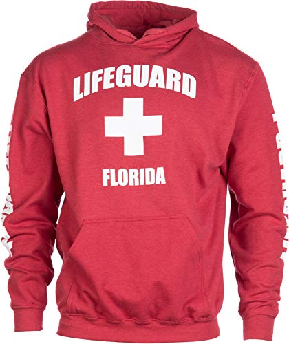 (Florida Lifeguard | Red Cool Fleece FL Hoody Sweatshirt Hoodie Sweater Men Women - (Hood,S))