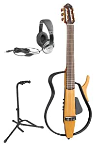 yamaha slg110n nylon string silent electric guitar bundle with gig bag headphones. Black Bedroom Furniture Sets. Home Design Ideas