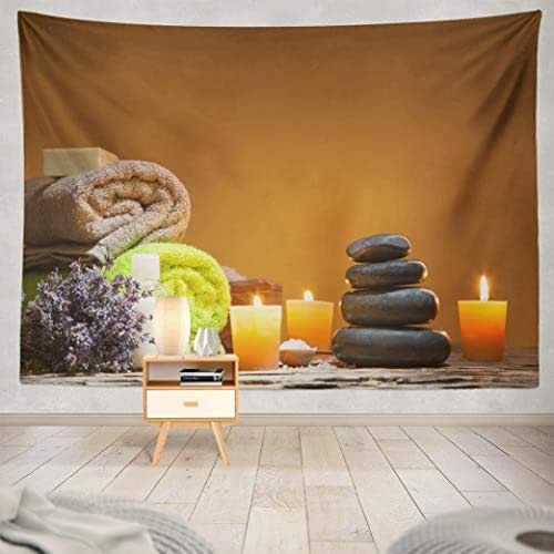 Suesoso Zen Spa Tapestry,Spa Still Life with Stacked Stone and Burning Candles Balance Hanging Wall Decor, 60 X 80 inches Hang Wall Art for Home Decor(Spa Still Life)