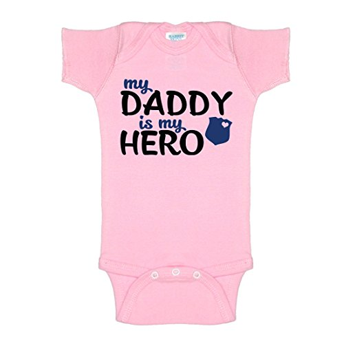 My Daddy Is My Hero Police One-Piece Baby Onesie Bodysuit (Girls Police Outfit)