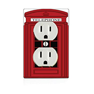 Trendy Accessories Popular Red British Phone Box Design Print Image Electrical Outlet Plate: Home & Kitchen