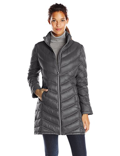 Calvin Klein Women's Chevron Packable Down Coat, Titanium, (Large Womens Coat)