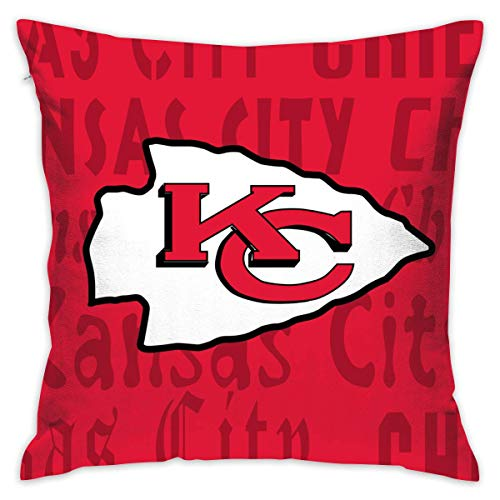 luckyly Custom Colorful Kansas City Chiefs Pillow Covers Standard Size Throw Pillow Cases Decorative Cotton Pillowcase Protecter Zipper - 18x18 Inches