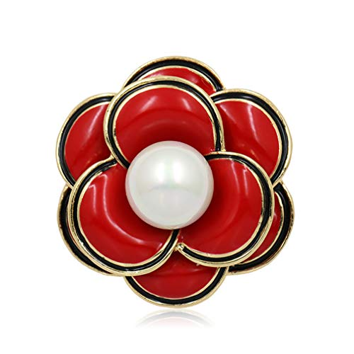 DARLING HER Trendy Enamel Red Purple Or White Flower Brooch Pins for Women red ()