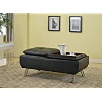 Best Quality Furniture CT319 Upholstered Coffee Table Best Quality Simulated Leather Storage Ottoman, Black