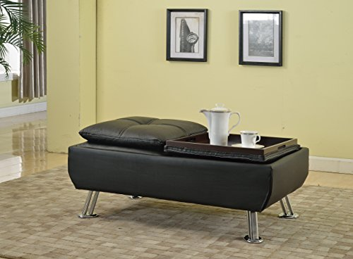 Best Quality Furniture CT319 Upholstered Coffee Table Simulated Leather Storage Ottoman, (Simulated Leather Living Room)