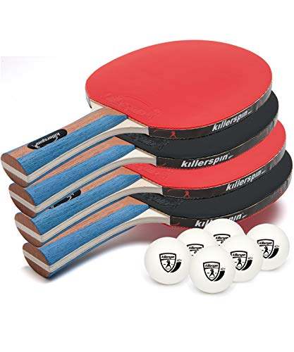 Killerspin JETSET 4 Premium Set – Table Tennis Set with 4 Ping Pong Paddles With Premium Rubbers and 6 Ping Pong Balls