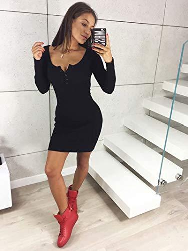 À Fermé Des Fine Longues Sexy Maille Avec Sculptante En Frecoccialo Automne Rond Manches Boutons Femme Col Robe Noir 08vNwmnyO