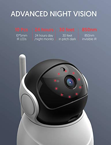 Victure 2020 Upgraded 1080P Pet Camera, FHD 2.4G WiFi Camera with Smart Motion Detection/Tracking, Sound Detection, Two-Way Audio, Night Vision, Cloud Service, iOS/Android, APP -- Victure Home