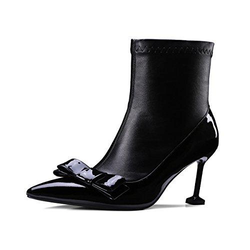 sobre elástico botas zapatos alto tacón rodilla Black mujer QIN Stiletto amp;X de largas la 0qHWxBT1
