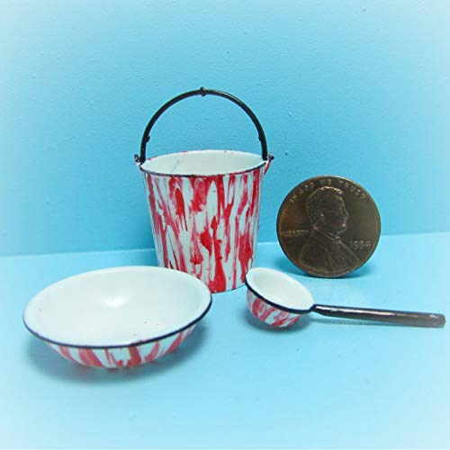 - Dollhouse Pail, Bowl Dipper in Red Enamelware KL1864 - Miniature Scene Supplies Your Fairy Garden - Doll House - Outdoor House Decor
