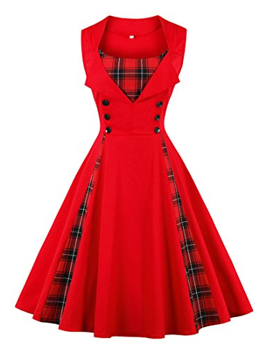 (Killreal Women's Fashion Casual Tartan Plaid Patchwork Cocktail Christmas Party Dress Red)