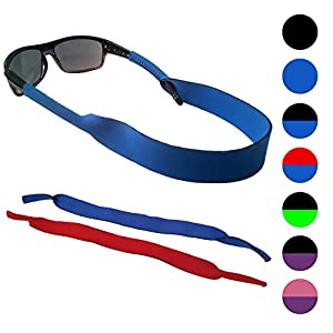 Sunglasses and Glasses Floating Safety Strap - 2 Pack | Anti-Slip and Fast Drying Sport Glasses Strap | BLUE + RED