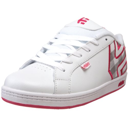 etnies Fader Skate Shoe (Toddler/Little Kid/Big Kid),White/Silver,2 M US Little Kid