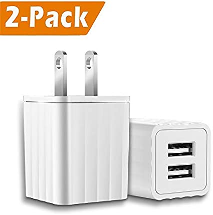 Canjoy 3Pack 5V//2.1A ETL Certified Dual Port USB Plug Charger Adapter 2 Pors Wall Charger Compatible with iPhone 8//X//7//6//6S//6S Plus//5S//5C//SE,iPad,Samsung,LG,Moto,Google Pixel,Nexus,HTC and More-White USB Wall Charger Wall Adapter