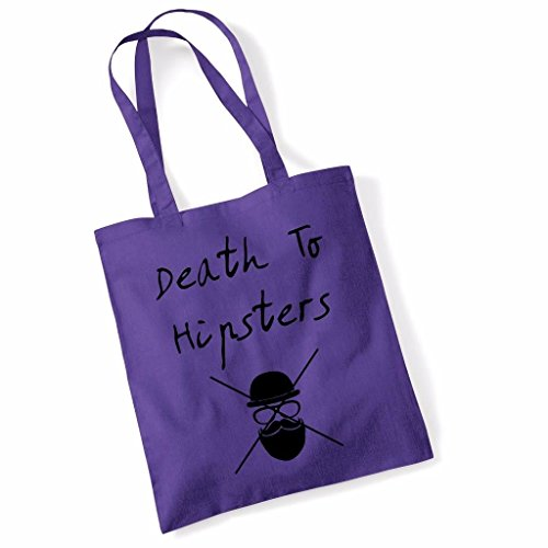 Printed Tote Bag Slogan Womens Gift Idea 100% Cotton Death To Hipsters Inspirational Quote Funny Beach Accessories Canvas Shoulder Bag - Lime Green Purple