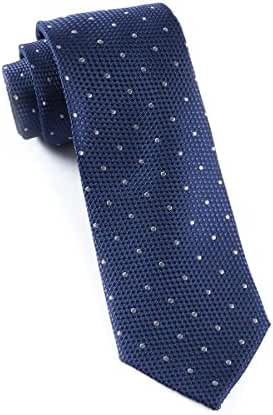 The Tie Bar 100% Woven Silk Navy Solid Textured Grenafaux Dots Tie