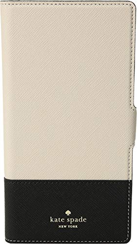 Kate Spade New York Women's Magnetic Wrap Folio Phone Case for iPhone¿ X Plus Black/Tusk One Size
