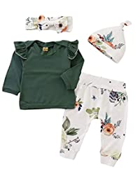 SUPEYA Baby Girls Ruffle Long Sleeve Tops+Floral Pants+Hat+ Headband 4Pcs Set Outfits